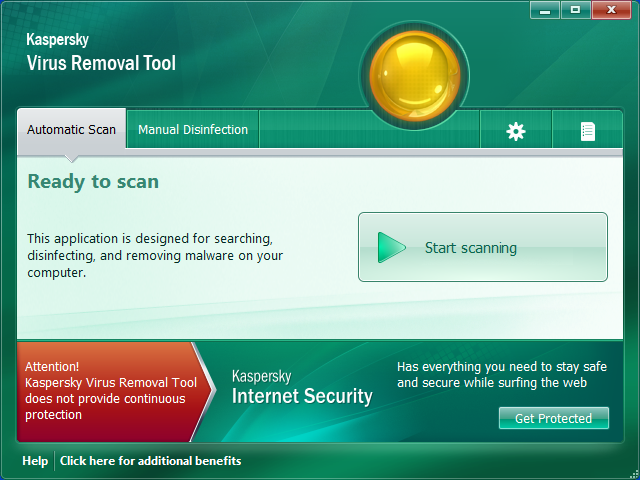 Kaspersky Virus Removal Toolその1