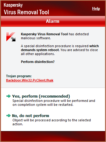 Kaspersky Virus Removal Toolその2