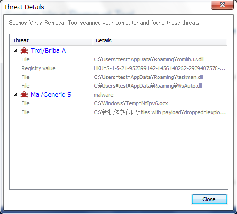 Sophos Virus Removal Toolその3